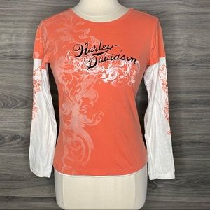 Harley Davidson Embroidered Long Sleeve T-Shirt S